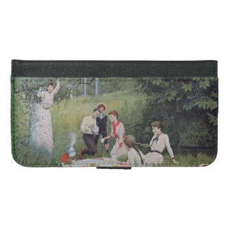Victorian Family Picnic in Forest Coffee Pot iPhone 6/6s Plus Wallet Case