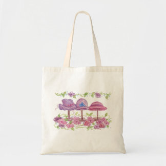 Victorian Fancy Hats Flowers Watercolor Drawing Tote Bag