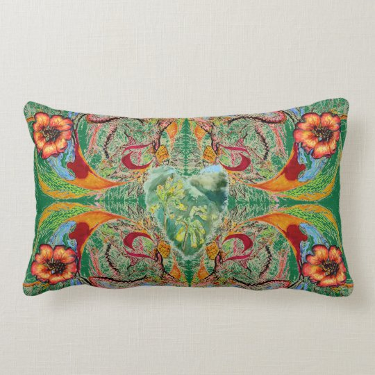 "Victorian Fantasy ""Mint"" by Alexandra Cook Lumbar Pillow"