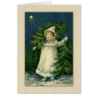 Victorian Farm Girl with Greenery Card