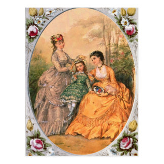 Victorian Fashion Plate Women and child Postcard