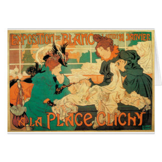 Victorian fashion store Art Nouveau French poster Card
