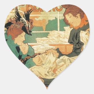 Victorian fashion store Art Nouveau French poster Heart Sticker