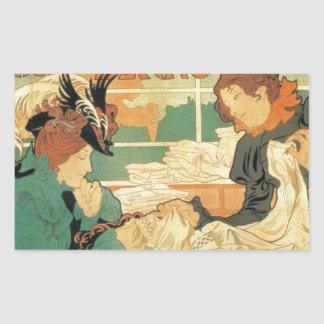Victorian fashion store Art Nouveau French poster Rectangular Sticker