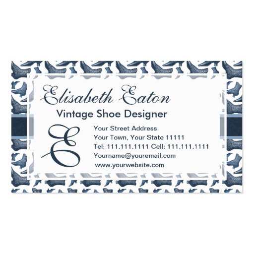 Victorian Fashion Vintage Style Boots Pattern Double-Sided Standard Business Cards (Pack Of 100)