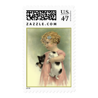 VICTORIAN FASHIONS GIRL & stray pets STAMPS! Postage Stamp