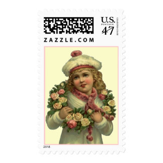 VICTORIAN FASHIONS GIRL W/ ROSE LEI STAMPS! POSTAGE STAMP