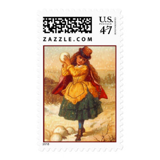 VICTORIAN FASHIONS Girl With Snowball To Toss Postage Stamp