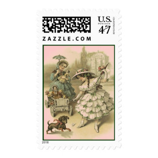 VICTORIAN FASHIONS GIRLS W DOLLS MAIL STAMPS! STAMP