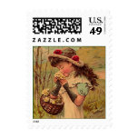 VICTORIAN FASHIONS Wild Flower Girl MAIL STAMPS! Postage Stamp