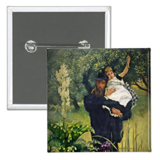 Victorian Father Carrying His Daughter 2 Inch Square Button