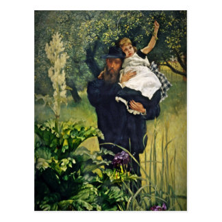 Victorian Father Carrying His Daughter Postcard
