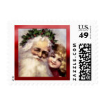 Victorian Father Christmas with a Child Postage Stamp