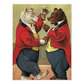 """Victorian feliz, osos gay, de bailes del vintage invitación 4.25"""" x 5.5"""""""