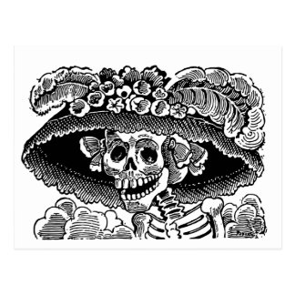 Victorian female skull skeleton José Posada Postcard