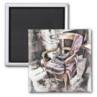 VICTORIAN FIRESIDE CHAIR 2 INCH SQUARE MAGNET