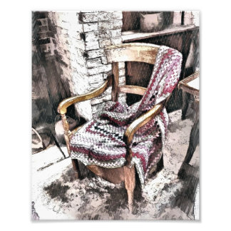 VICTORIAN FIRESIDE CHAIR PHOTO PRINT