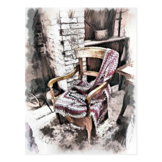 VICTORIAN FIRESIDE CHAIR POSTCARD
