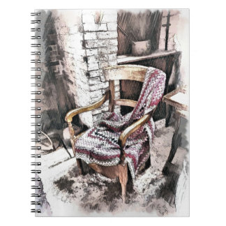 VICTORIAN FIRESIDE CHAIR SPIRAL NOTEBOOK