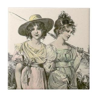Victorian Fishing Pole Friends Girlfriends Tile
