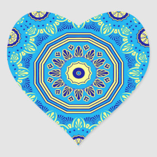 Victorian Flora and Fauna Blue Heart Sticker