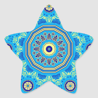 Victorian Flora and Fauna Blue Star Sticker