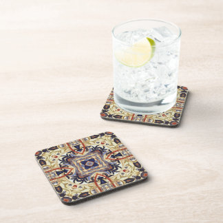 Victorian Floral Abstract Square Cork Coaster