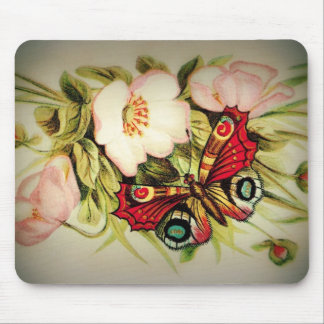 Victorian Floral and Butterfly Mouse Pad