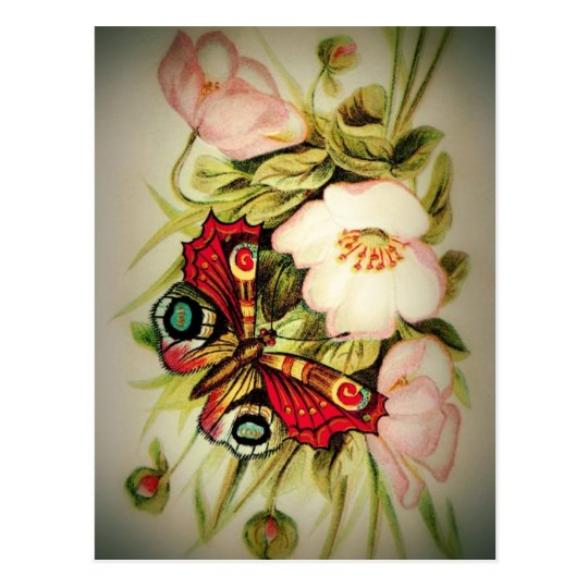 Victorian Floral and Butterfly Postcard