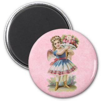 Victorian Floral Angel 2 Inch Round Magnet