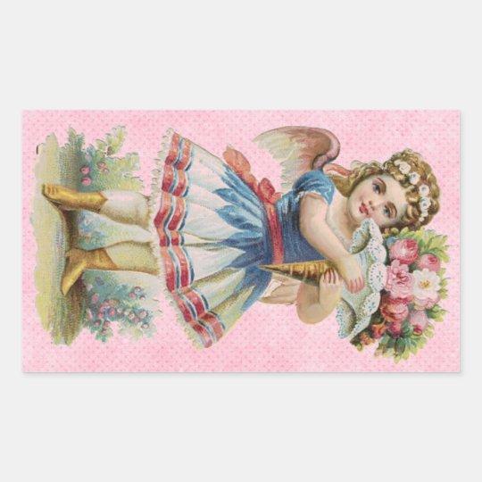 Victorian Floral Angel Rectangular Sticker