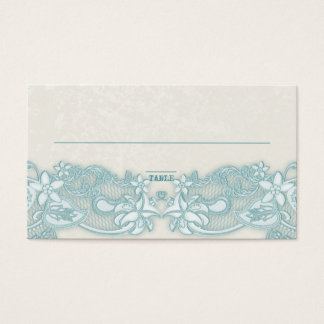 Victorian Floral Aqua Ivory Place Card
