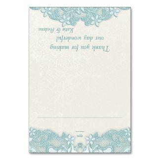 Victorian Floral Aqua Lace Design White Place Card