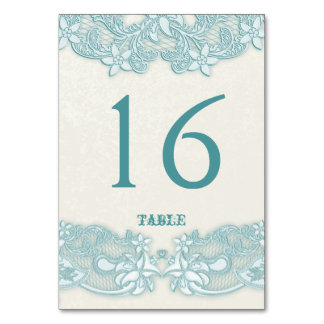 Victorian Floral Aqua Lace Design White Table Card