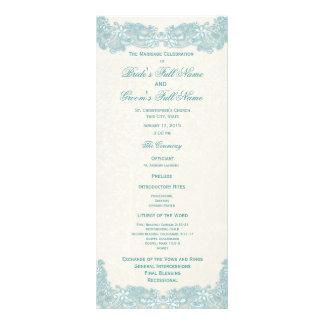 Victorian Floral Aqua Lace Wedding Program