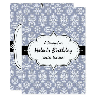 Victorian Floral Blue Lace Birthday Party Card