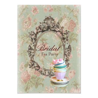 victorian floral botanical bridal shower tea party card
