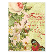 Victorian Floral Friendship Postcard