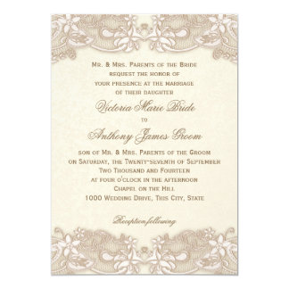 Victorian Floral Lace Design Wedding 5x7 Paper Invitation Card