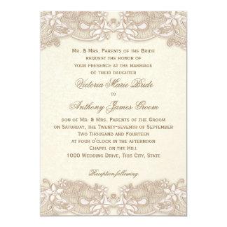 Victorian Floral Lace Design Wedding Card