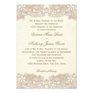 Victorian Floral Lace Design Wedding 5x7 Paper Invitation Card
