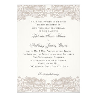Victorian Floral Lace on White Design Wedding 5x7 Paper Invitation Card