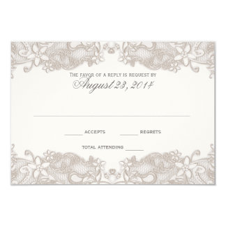 Victorian Floral Lace White Response Card