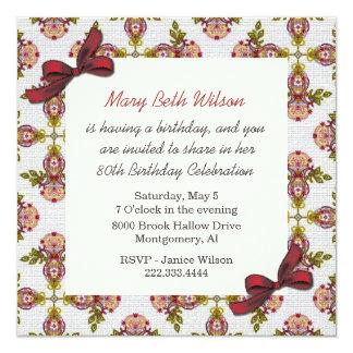 "Victorian Floral Ladies Birthday Invitation 5.25"" Square Invitation Card"