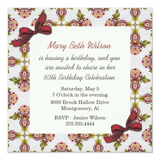 Victorian Floral Ladies Birthday Invitation