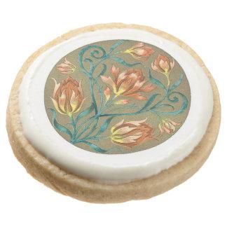 Victorian floral motif round shortbread cookie