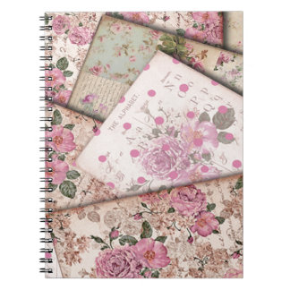 Victorian floral papers. notebook