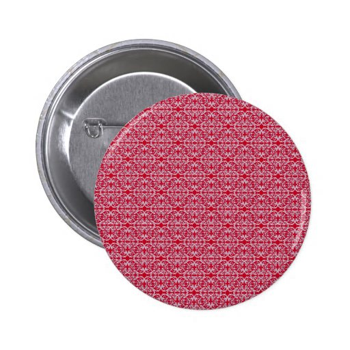 Victorian Floral Pattern in Red 2 Inch Round Button