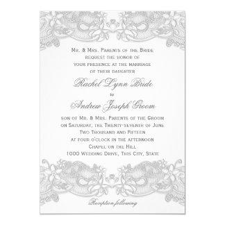 Victorian Floral Silver Gray Design Wedding Card