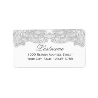 Victorian Floral Silver Gray Address Label